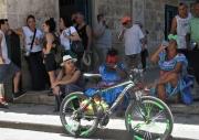 Havana - Ladies in Blue on a Sidewalk