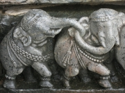 Two of 644 Different Elephants Carved on Ancient Temple